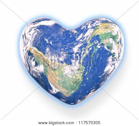 The Planet Earth Shaped As A Heart And Isolated From The Background With A Clipping Path.elements Of