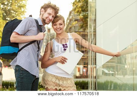 Tourist Couple Traveling Together Having Fun