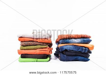 Clothes Stacked Over White