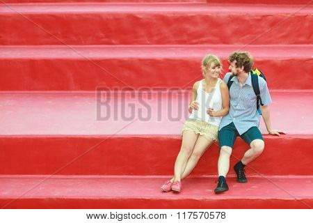 Tourist Couple In Love Traveling Together Dating