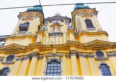 Fragment of the Ursuline Church in Linz of Austria