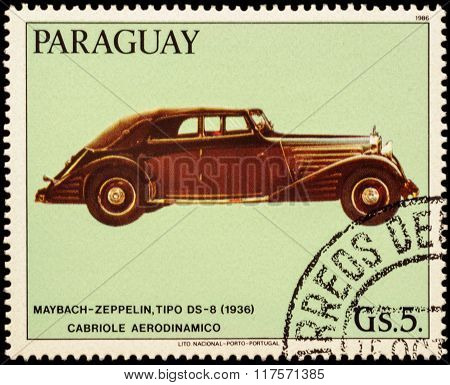 Old Car Maybach Zeppelin, Ds-8, Stromlinien-cabriolet (1936) On Postage Stamp