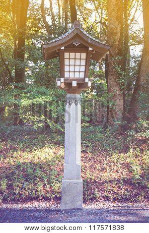 Japanese Lamp At Meiji Jingu Shrine, Harajuku, Tokyo, Japan