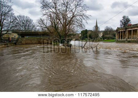 High water level in Bath, UK