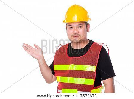 Asian engineer open hand palm