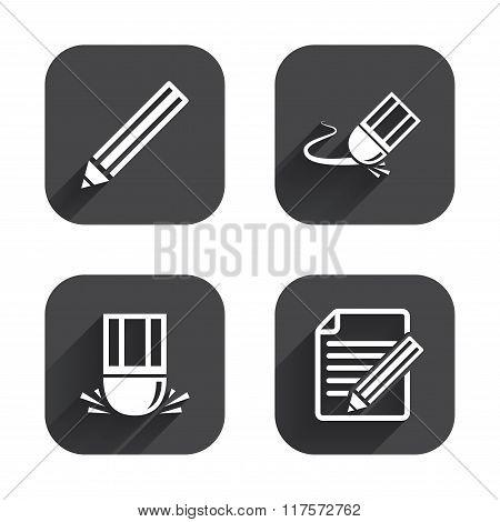 Pencil icon. Edit document file. Eraser sign.