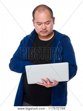 Asian man use of laptop computer