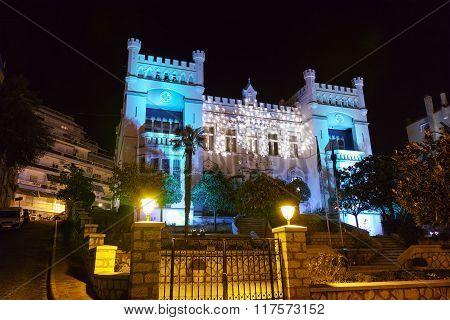 Night photo of town hall of Kavala, Greece