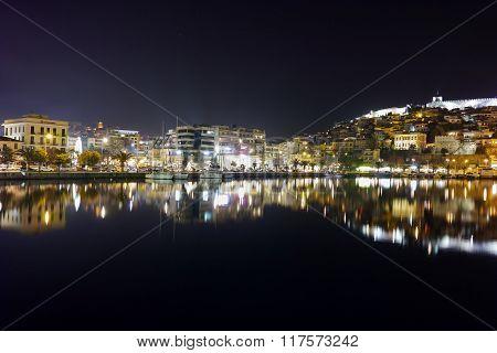Panoramic night photo of Kavala, Greece