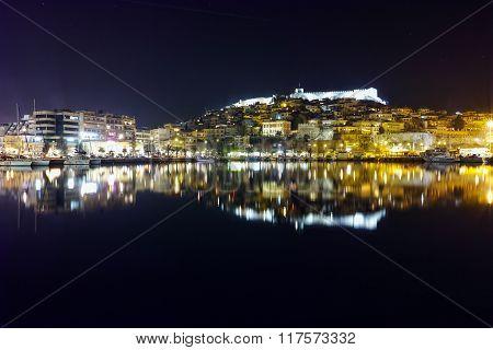 Panoramic night photo of Old Town of Kavala, Greece