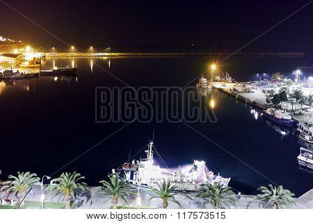 Amazing Panoramic night photo of port of Kavala, Greece