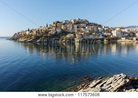 Amazing Panorama of aqueduct and old Old town of Kavala, Greece