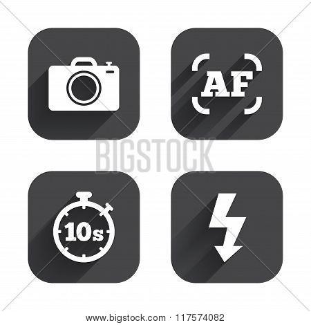 Photo camera icon. Flash light and autofocus AF.