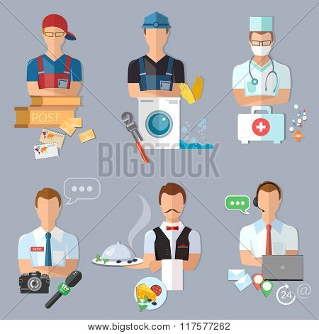 Postman Plumber Doctor Journalist Waiter Call Center Operator Collection Professions
