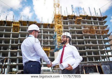 Engineers at construction place