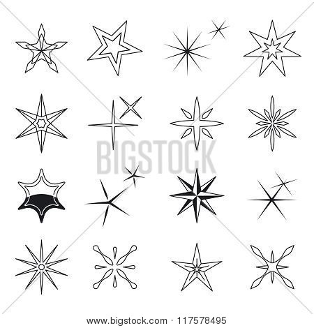 Star icons, vector black stars symbols on white