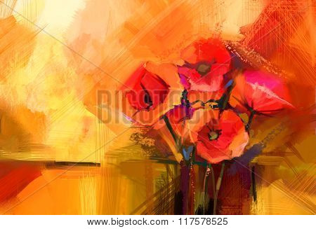 Abstract Oil Painting Still Life Of Red Poppy Flower. Colorful Bouquet Of Spring Flowers