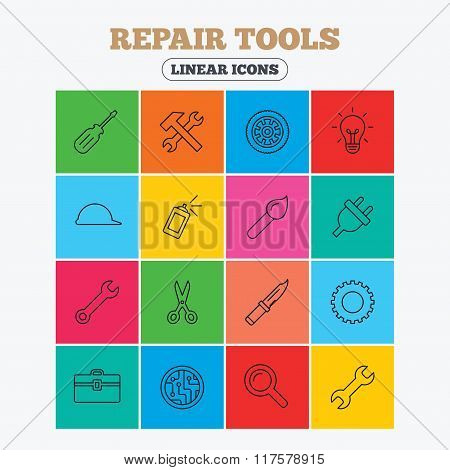 Repair tools icons. Hammer with wrench key.