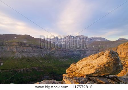View of Ordesa valley and Monte Perdido massif, Pyrenees, Spain.