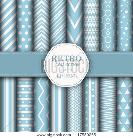 Collection of seamless patterns for wallpapers, pattern fills, web backgrounds, birthday and wedding
