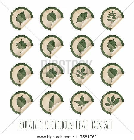 Isolated Deciduous Tree Leaf Icon Set In Stamp Shape