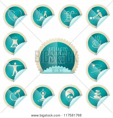 Wellness Theme Icon Set, Tollkit Placed In Stamp Shape