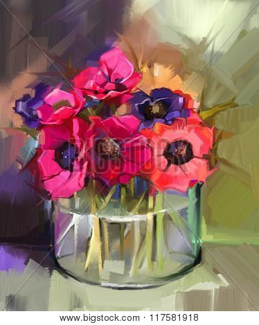 Still Life A Bouquet Of Flowers. Oil Painting Red Anemones Flower In Glass Vase.