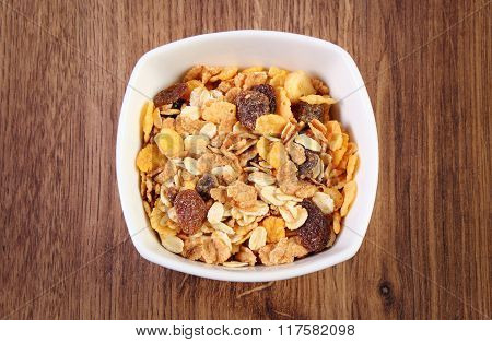 Muesli In Glass Bowl, Concept Of Healthy Nutrition And Increase Metabolism