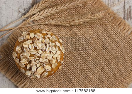 Fresh Muffins With Oatmeal And Ears Of Rye Grain, Delicious Healthy Dessert, Copy Space For Text On