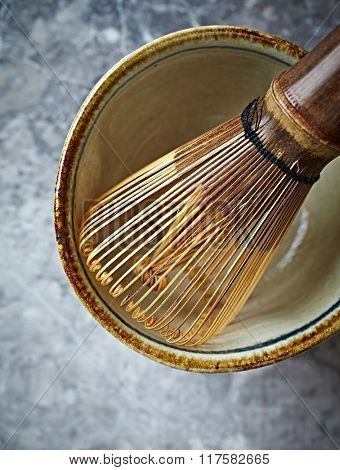 A bamboo tea whisk for matcha tea