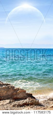 Landscape in fantasy planet - sea and moon. Elements of this image furnished by NASA