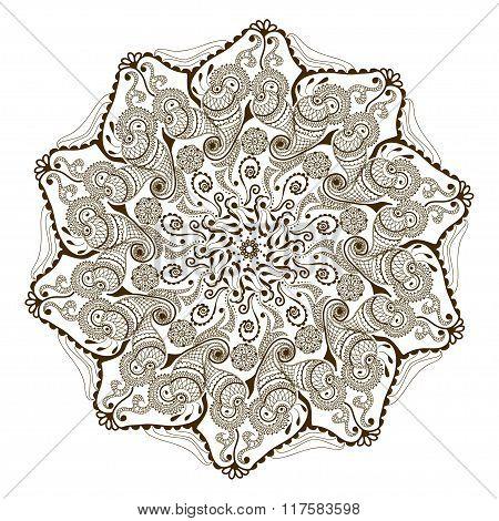 Vector Floral Mandala In Indian Style. Mehndi Ornamental Flower