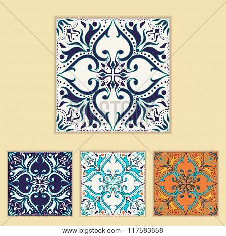 Vector Portuguese Tile Design In Four Different Color. Beautiful Colored Pattern For Design And Fash