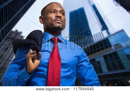 African businessman in a modern city