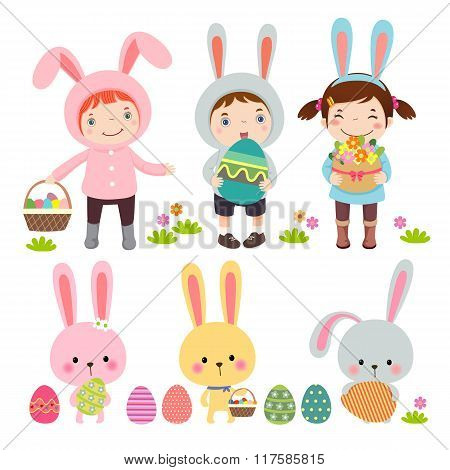 Vector Set Of Characters And Icons On The Easter Theme In Cartoon Style