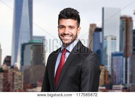 Portrait of a man in a business district