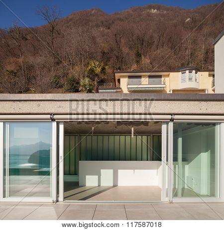 Minimalist house, modern terrace
