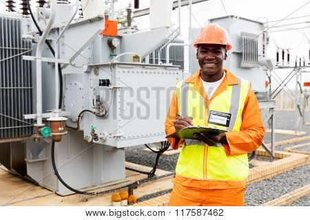 african technical worker working at power plant