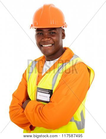 portrait of afro american technical worker arms crossed