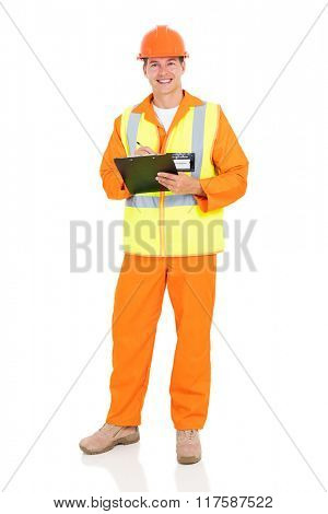 handsome electrical engineer holding clipboard on white background