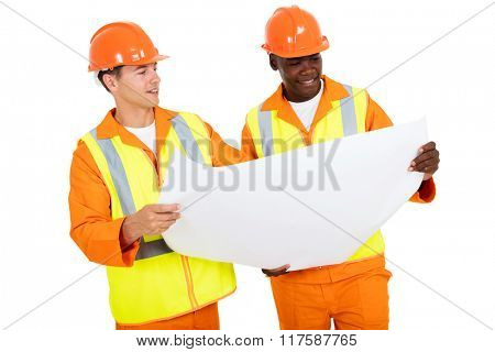 electrical engineers discussing blueprint isolated on white background