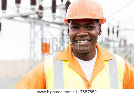 close up portrait of happy power company worker