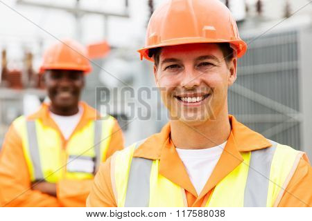close up portrait of young electrical engineer in substation