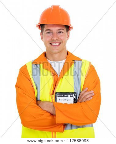 happy electrical worker with arms folded on white