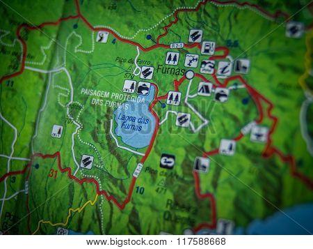 Lagoa das Furnas map close up
