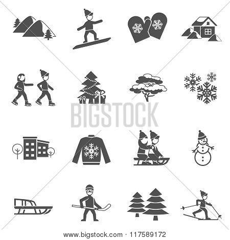 Winter Black Icons Set