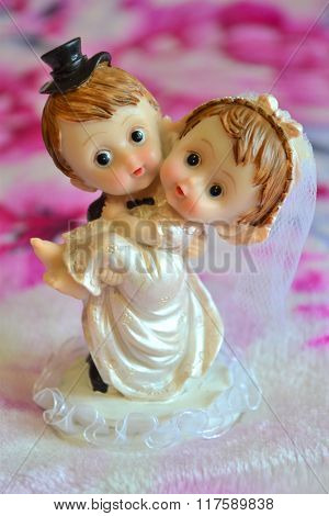 Just married bride and groom Happy event for newlyweds.Small statuette like little gift to newlyweds for happy on wedding or like present to lovers with congratulations on valentines day
