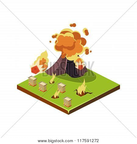 Volcano Eruption Danger. Natural Disaster Icon. Vector Illustration
