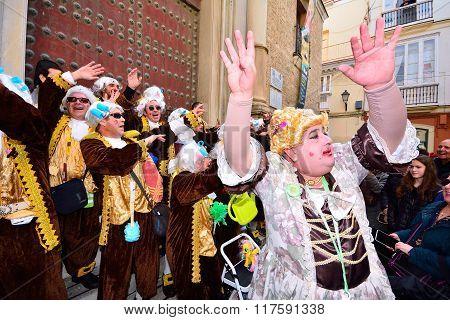 Typical Carnival Chorus (chirigota) In Cadiz.