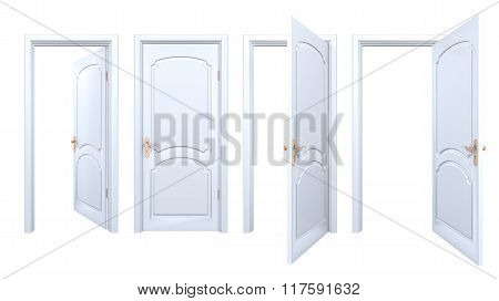 Collection Of Isolated White Arch Doors